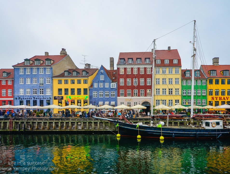 Colorful harbor  Copenhagen  Denmark
