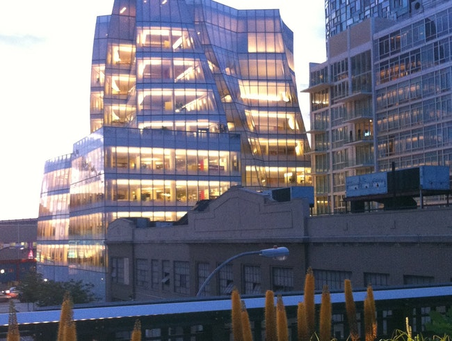 Gehry Building with Hi Line Flowering Bulbs at Dusk