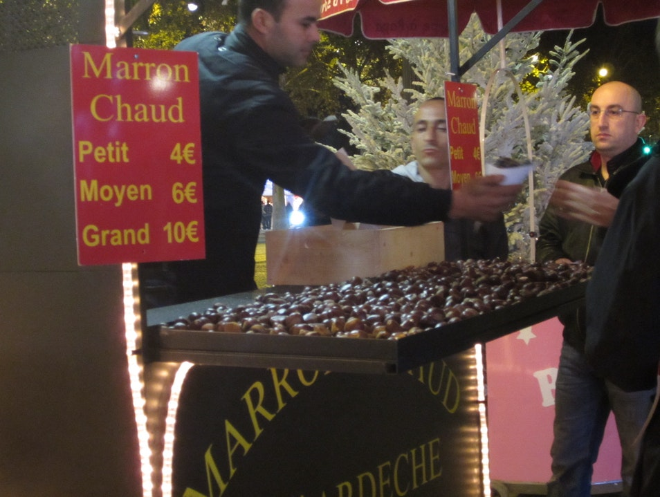 Vin chaud and roasted chestnuts Paris  France
