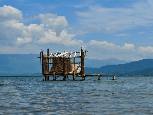 Traditional fishing huts of Dojran