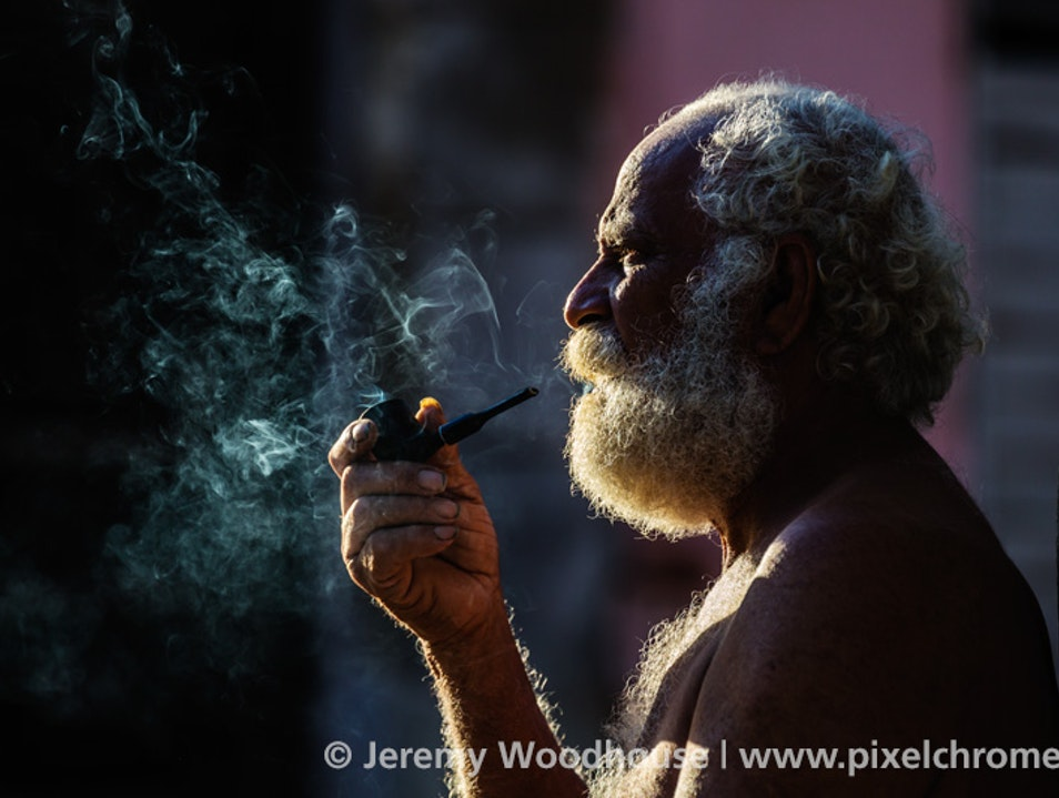 Eduardo Smoking a Morning Pipe Havana  Cuba