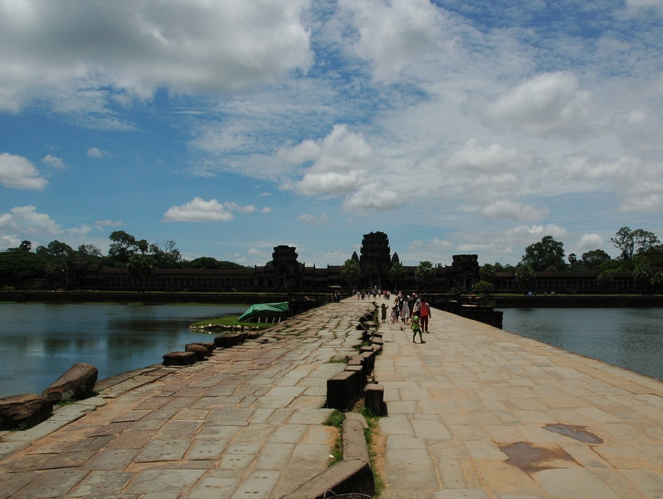 Crossing the Moat at Angkor Wat Siem Reap  Cambodia