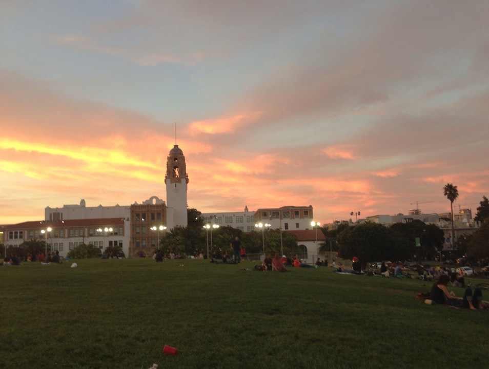 Sunset At Dolores Park San Francisco California United States