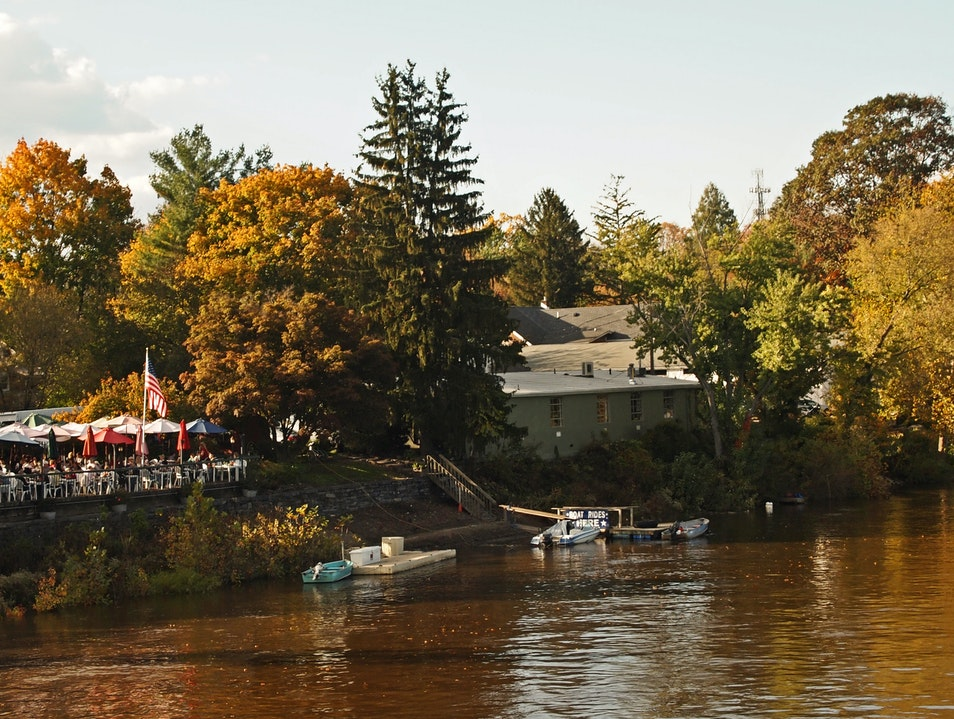 Charming riverfront scenery in New Hope, PA