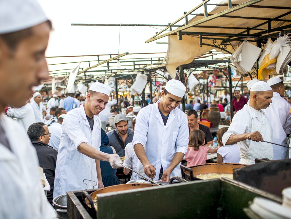 Moroccan Food Stalls on Djemaa el Fna Marrakech  Morocco