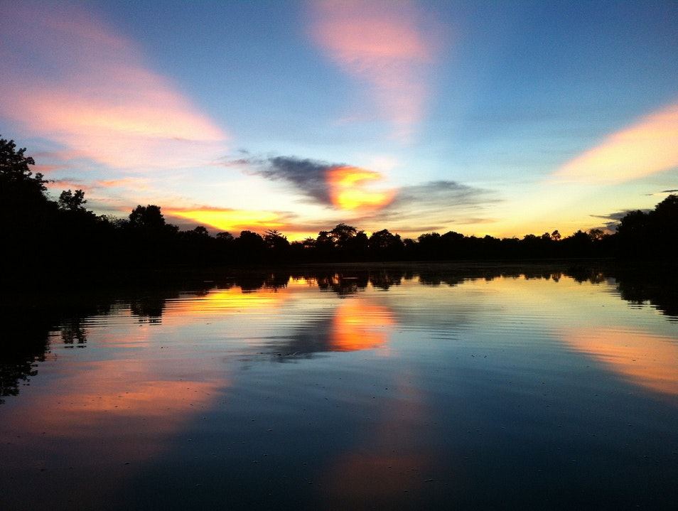 Sunset from an Angkorian gondola Siem Reap  Cambodia