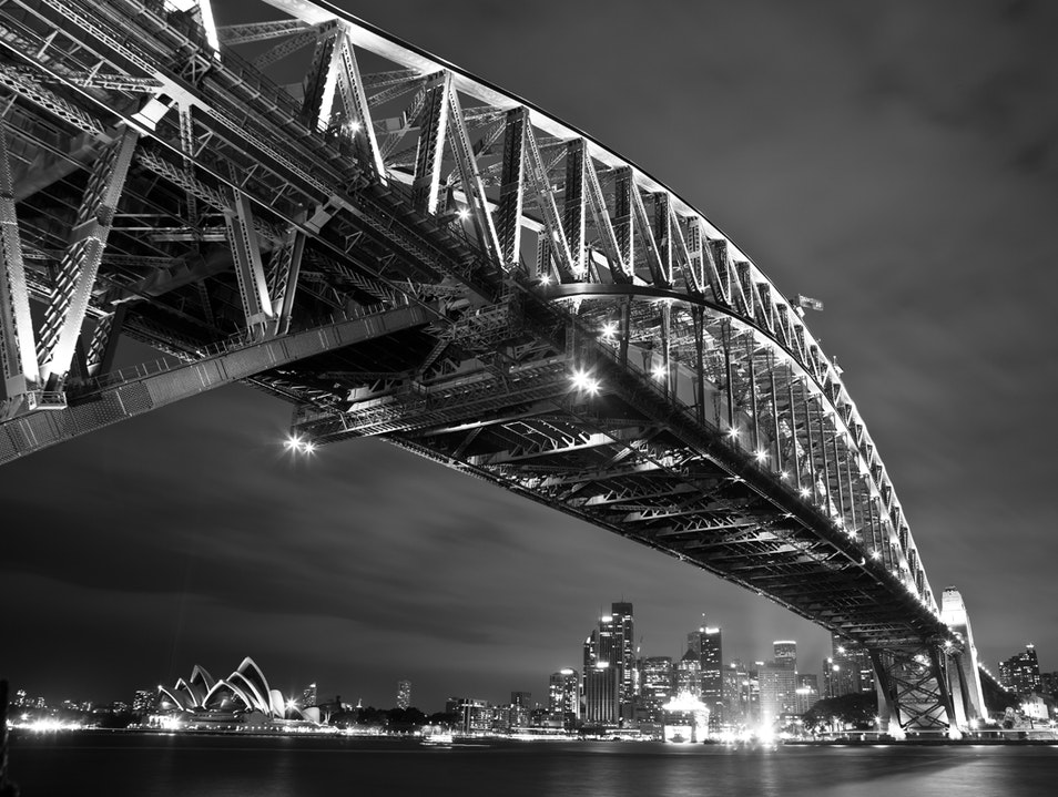 B & W of night cityscape Milsons Point  Australia