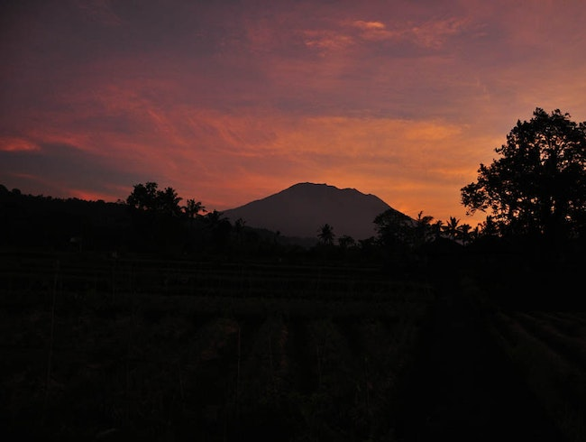 Sunrise over Mount Agung at Sidemen Village Rice Fields