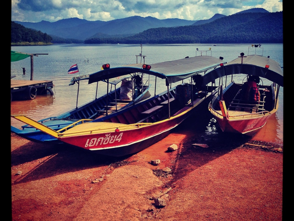 Long Tail Boats On Mae Ngat Lake Ban Pao  Thailand