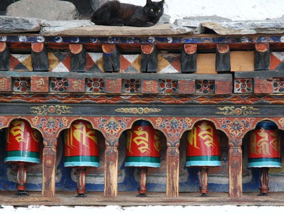 Kichu Lhakhang Prayer Wheels Paro  Bhutan