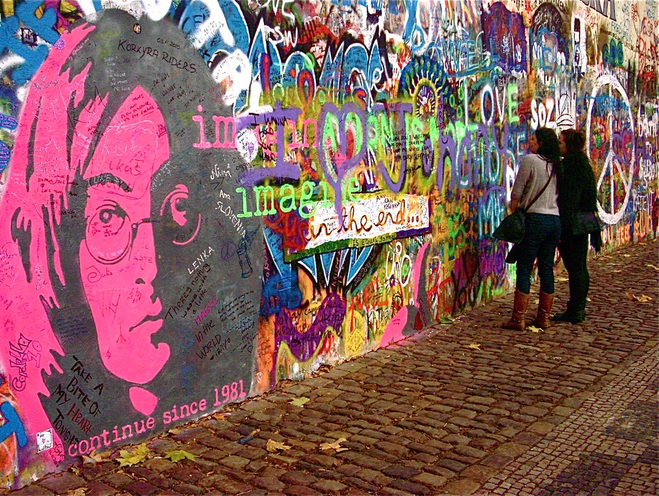 Become a part of Prague's street art scene--Sign your name to the Lennon Wall