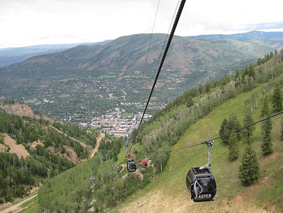 Taking the Gondola up Aspen Mountain