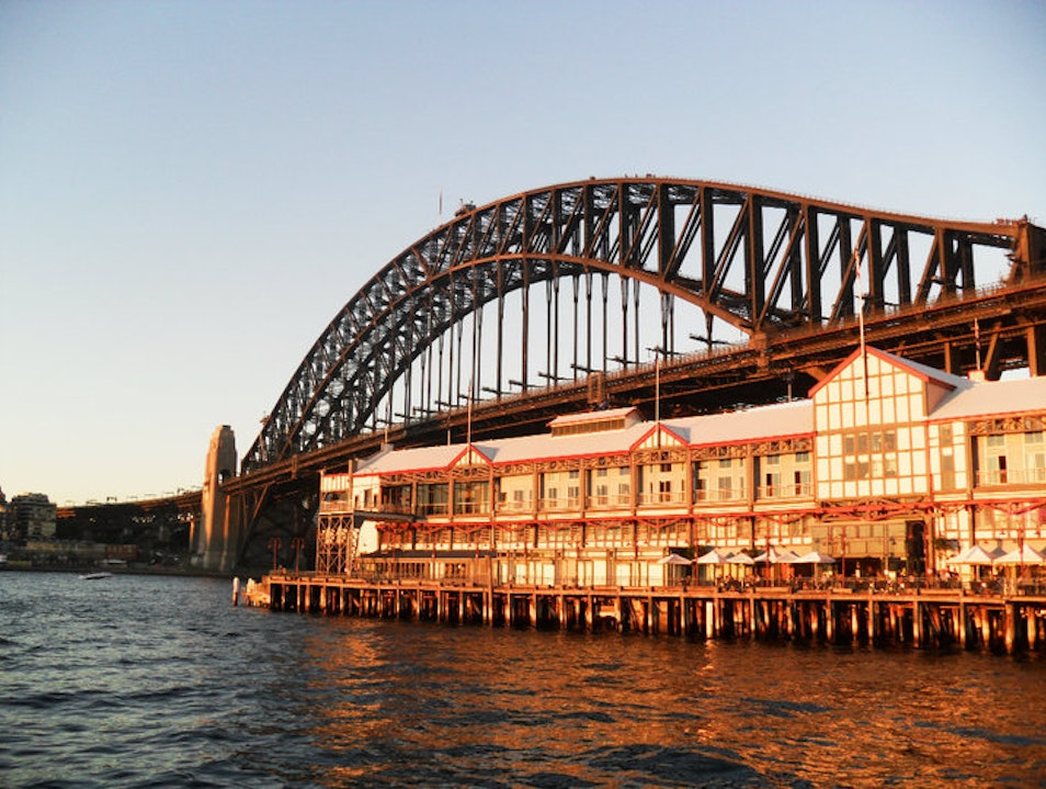 Red Bridge at Sunset Dawes Point  Australia