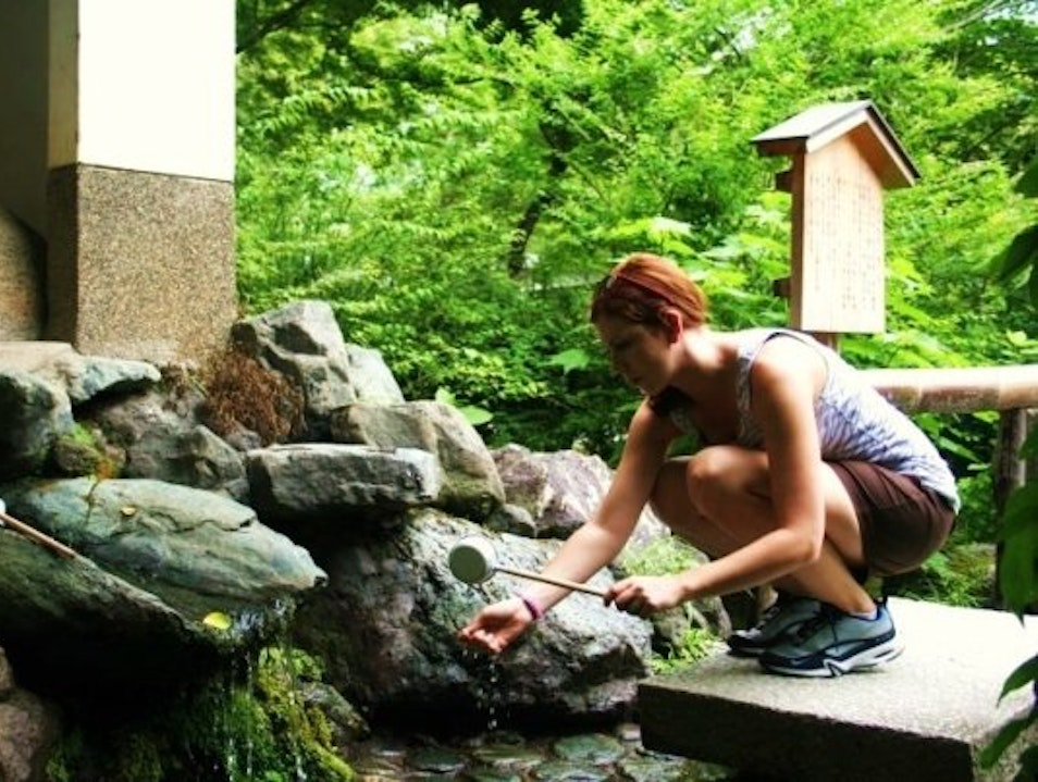 Hand rinsing at a temple Kyoto  Japan