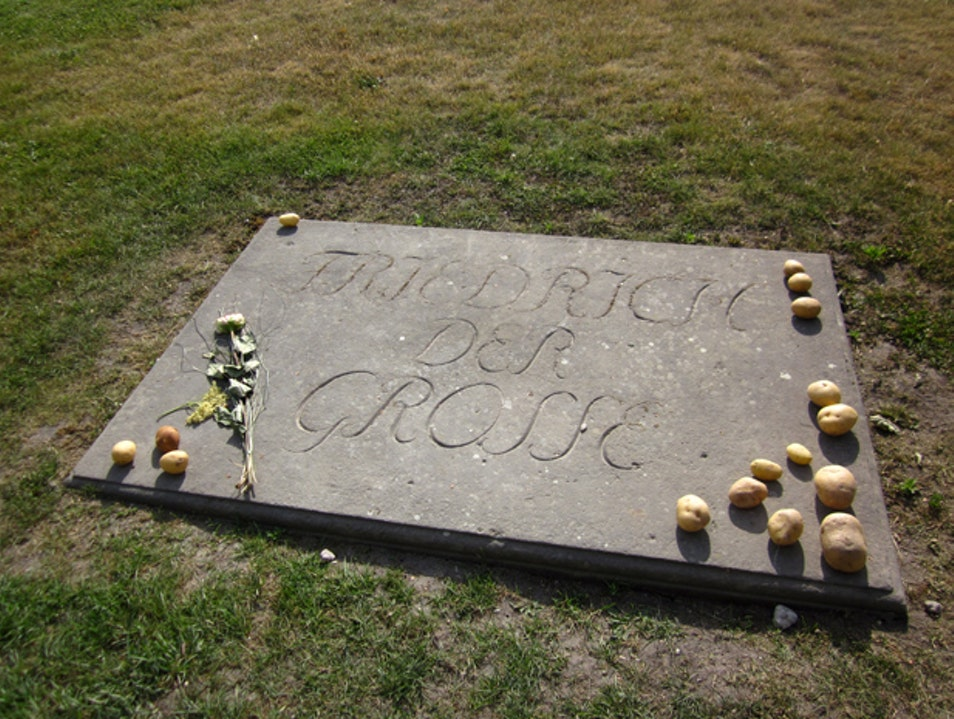 Leaving a Potato on Frederick the Great's Grave Potsdam  Germany