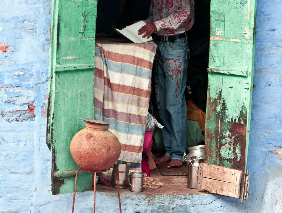 Man in Doorway in The Blue City Jodhpur  India