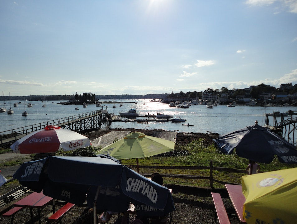 The Lobster Deck for dinner. Boothbay Harbor Maine United States