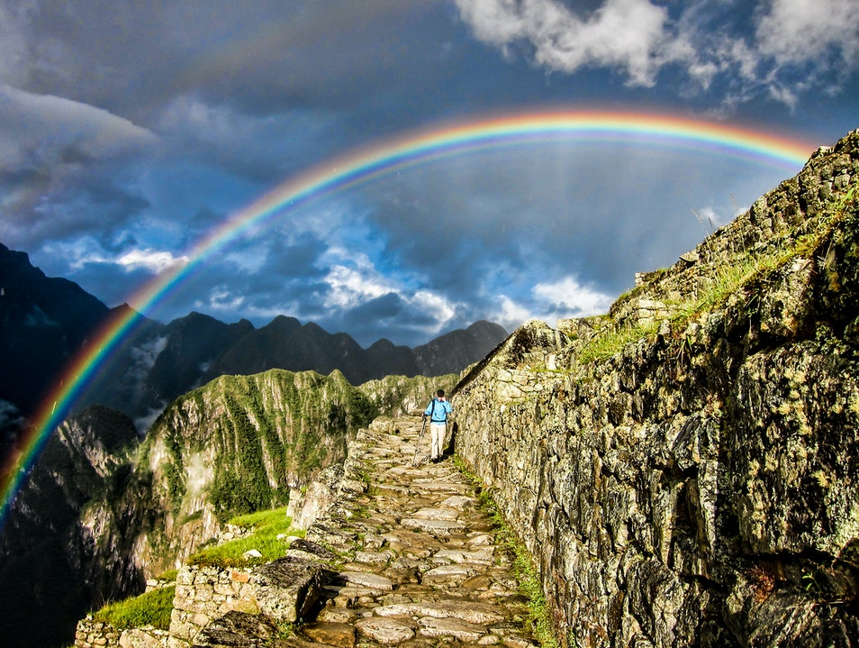 Double Rainbow over Machu Picchu Urubamba  Peru