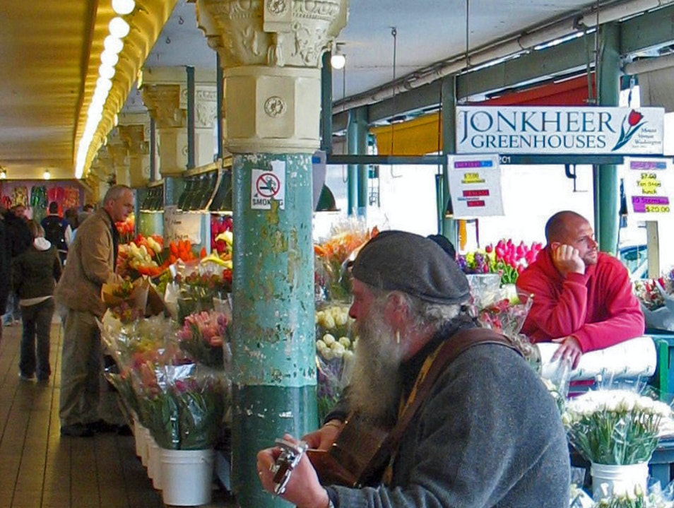 at the market: guitar and tulips