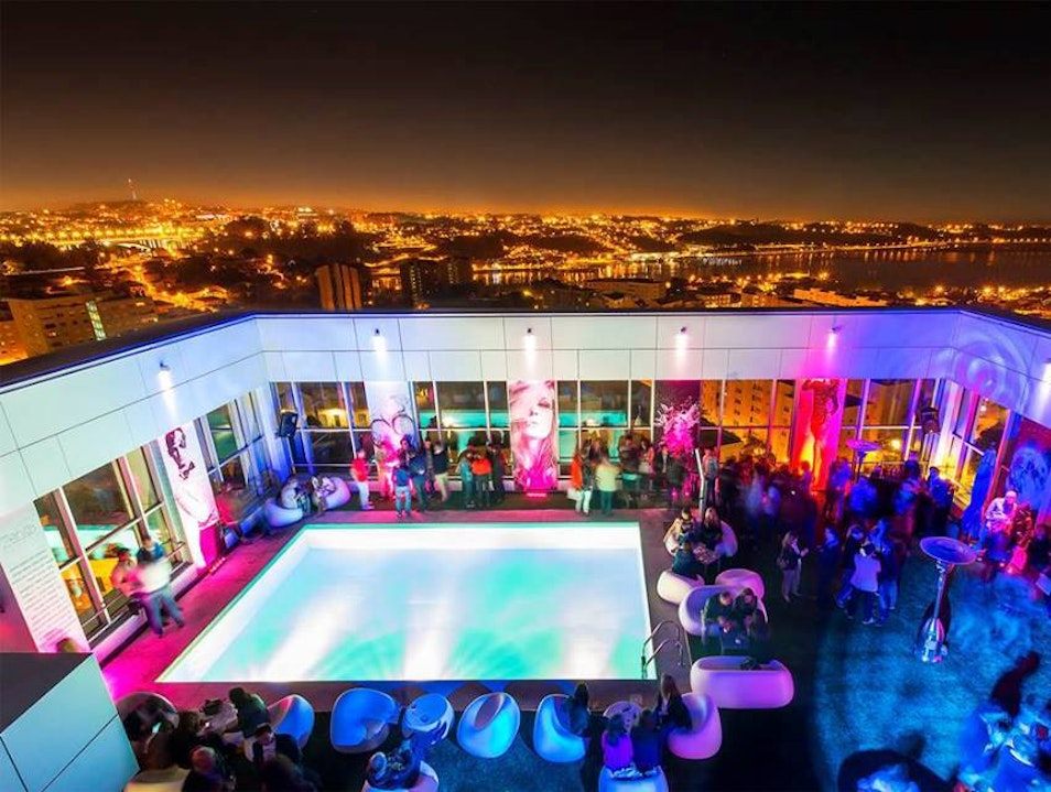 Lounge by the rooftop pool Porto  Portugal