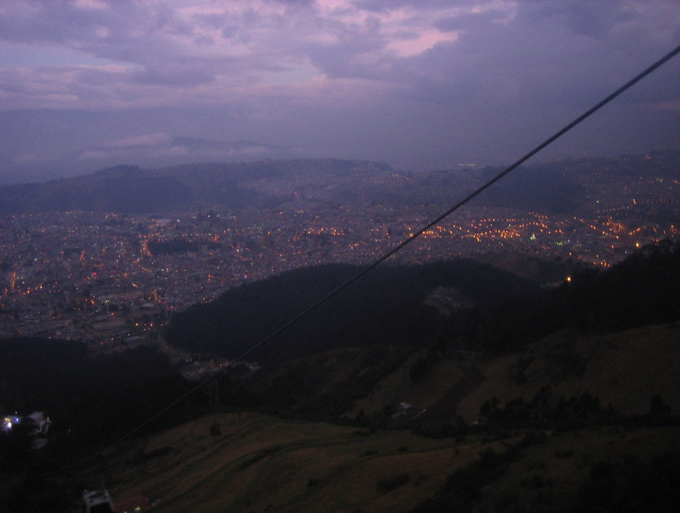 Nighttime teleferiqo ride Quito  Ecuador