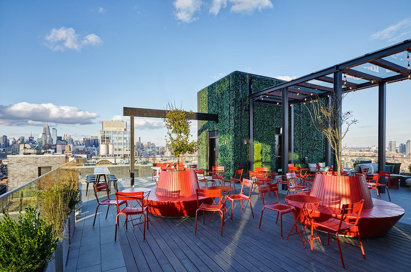 The rooftop bar at citizenM offers impressive skyline views.