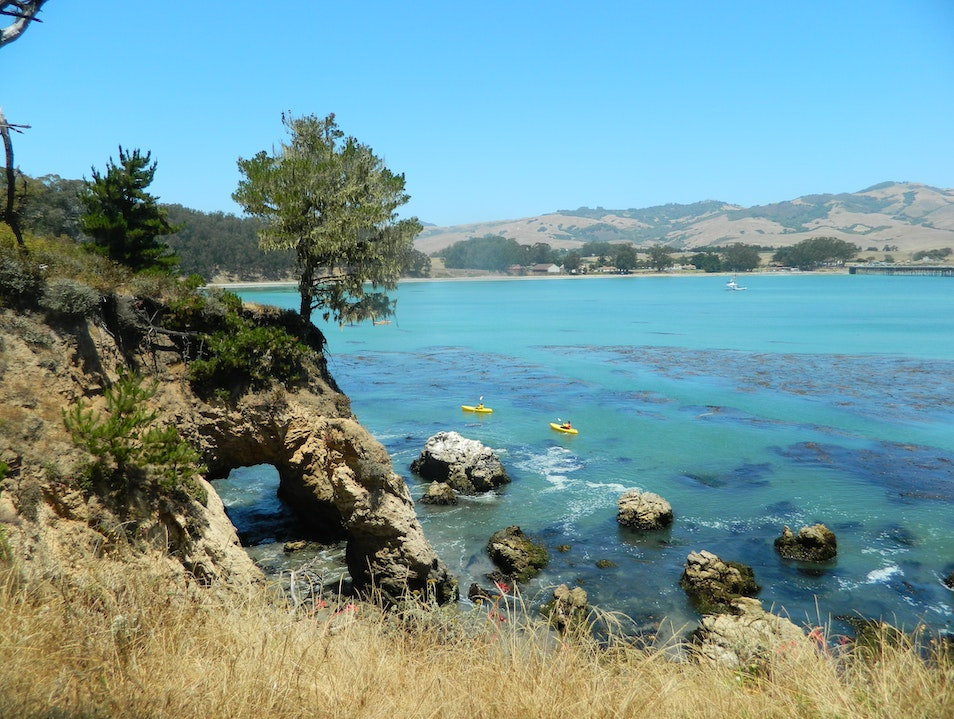 Short walk rewarded with a beautiful view of the California coastline San Simeon California United States
