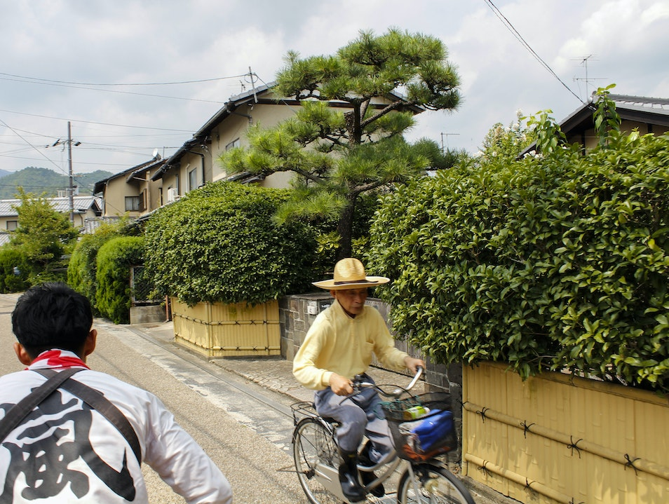 Riding a ricksaw in Kyoto