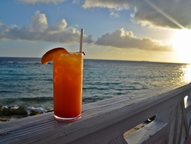 Sipping a Curacao Sunset