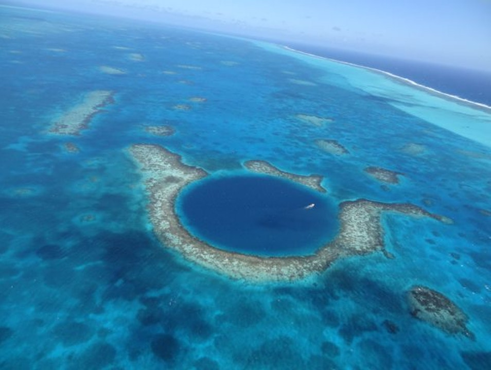 Aerial Tour of the Great Blue Hole Belize City  Belize