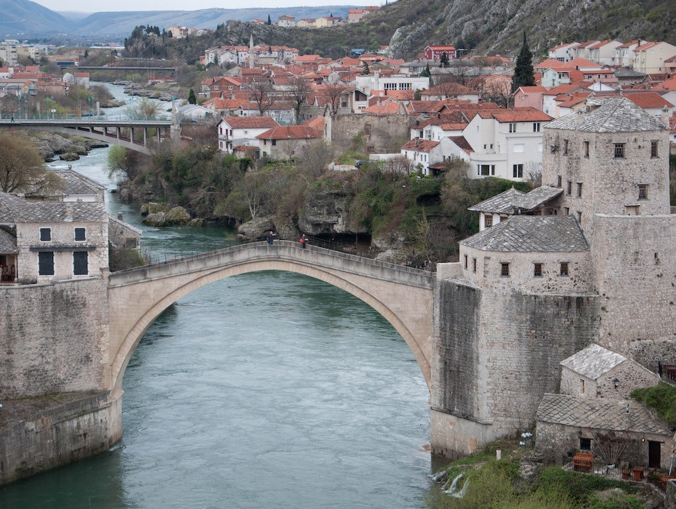 View from the minaret of 16 century mosque Mostar  Bosnia and Herzegovina