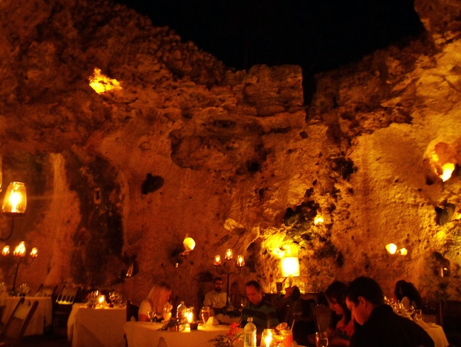 Dinner in a cave at Ali Barbour's