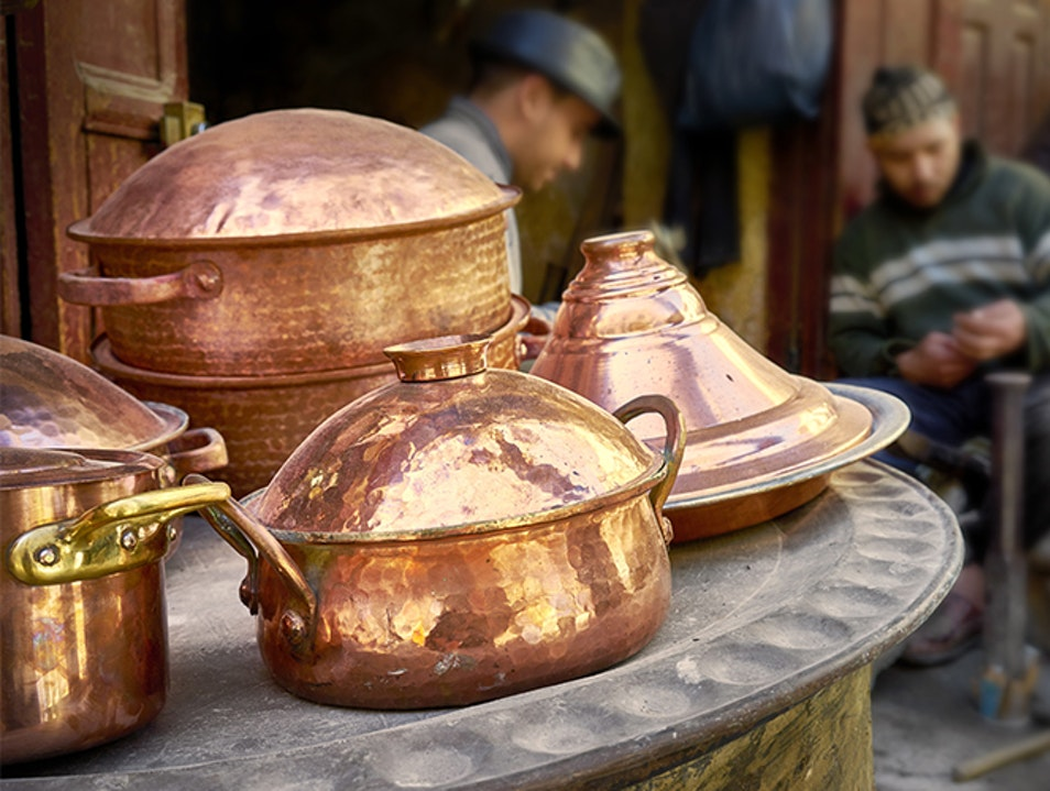 Copper Beaters Souk at Place Seffarine Fes  Morocco