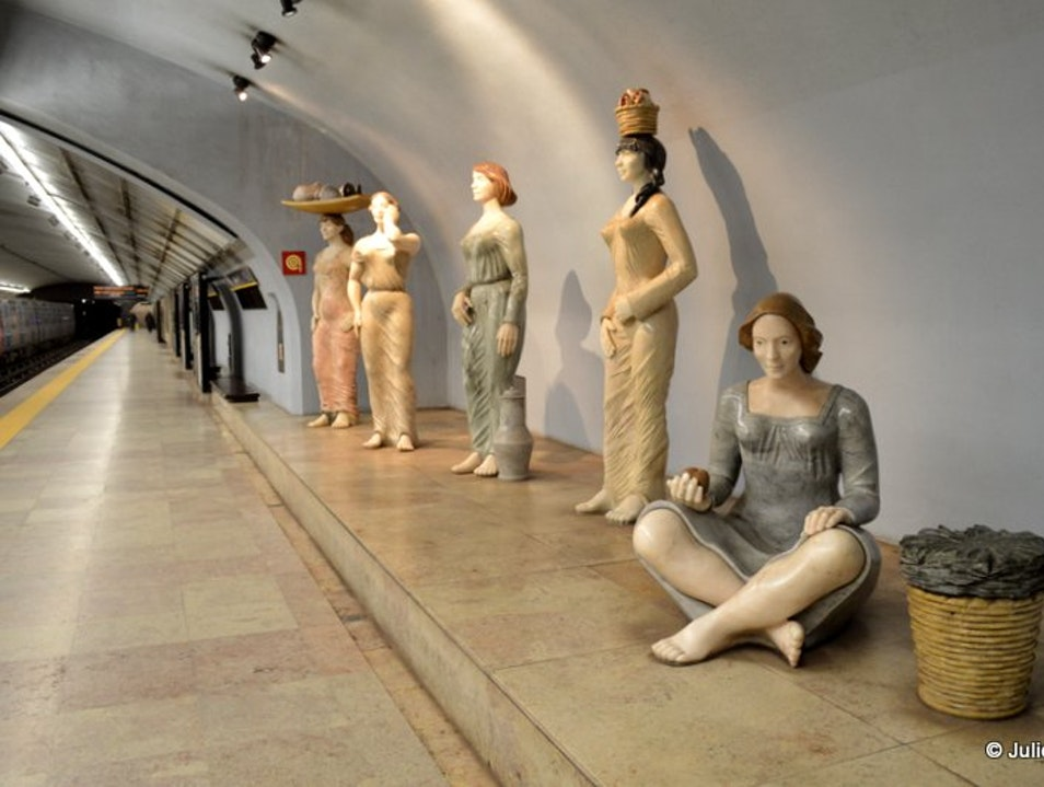 Metro art: Sculptures of Portuguese women at work Lisbon  Portugal