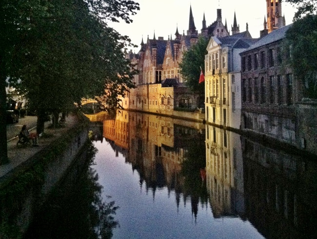 Reflections off the canal in Brugge, Belgium.