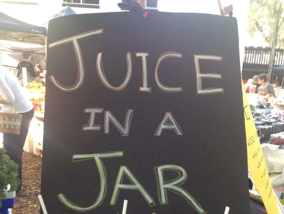 Fresh Juice in a Jar at the Farmers Markets West End  Australia