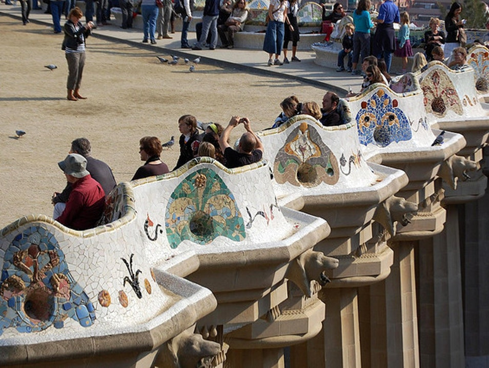 World's Longest Continuous Park Bench Barcelona  Spain