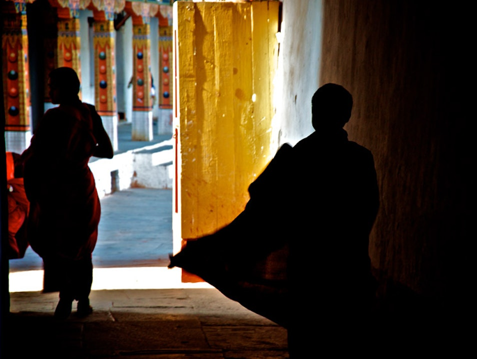 Whispers  in a monastery Bumthang  Bhutan