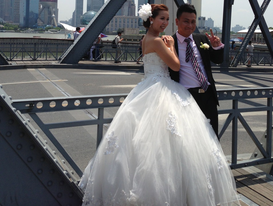 Bride and Groom on the Garden Bridge Shanghai  China