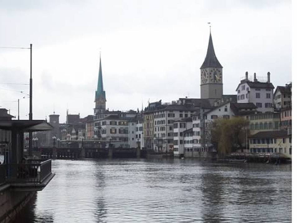 Scenic Views of St. Peter Clock Tower and Fraumunster Zurich  Switzerland