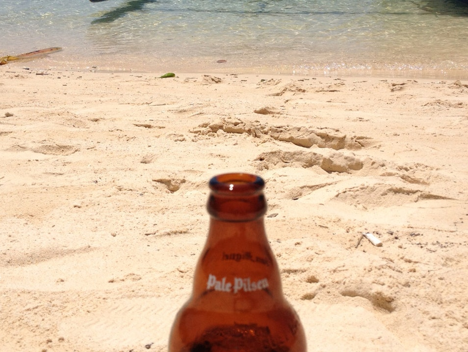 White Sand, A Boat And A Cold San Miguel  Malay  Philippines