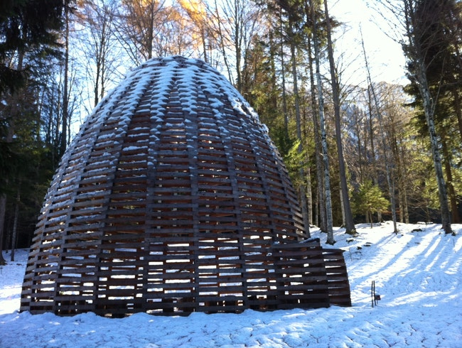 Contemporary art in the middle of a forest