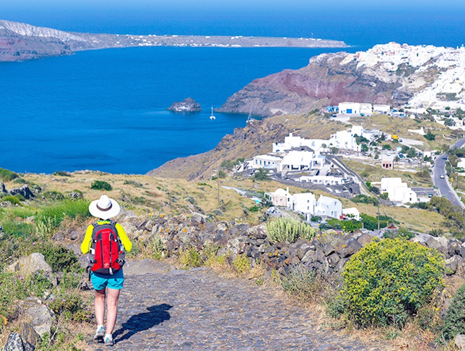 Hike from Fira to Oia Thira  Greece