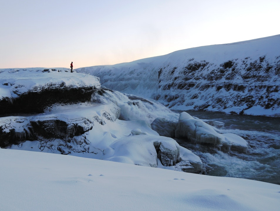 Frozen Gulfoss Waterfall South  Iceland