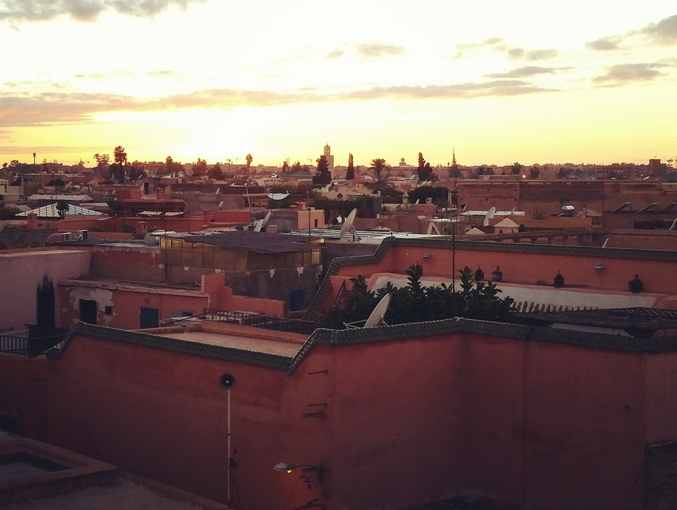 Sunset over the Marrakech medina Marrakech  Morocco