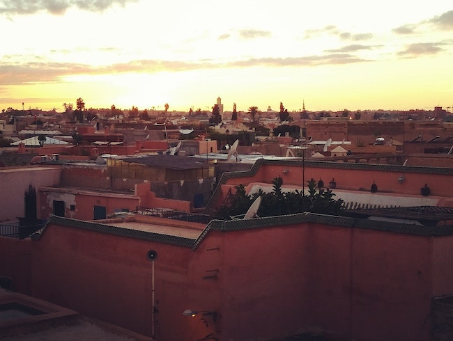 Sunset over the Marrakech medina