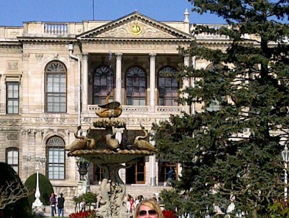 Touring Dolmabahce Palace on the shores of the Bosphorus Istanbul  Turkey