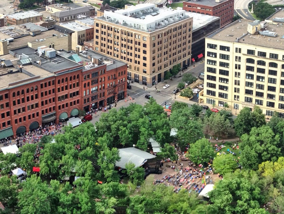 Little Green Urban Park Filled With Summer Music Saint Paul Minnesota United States