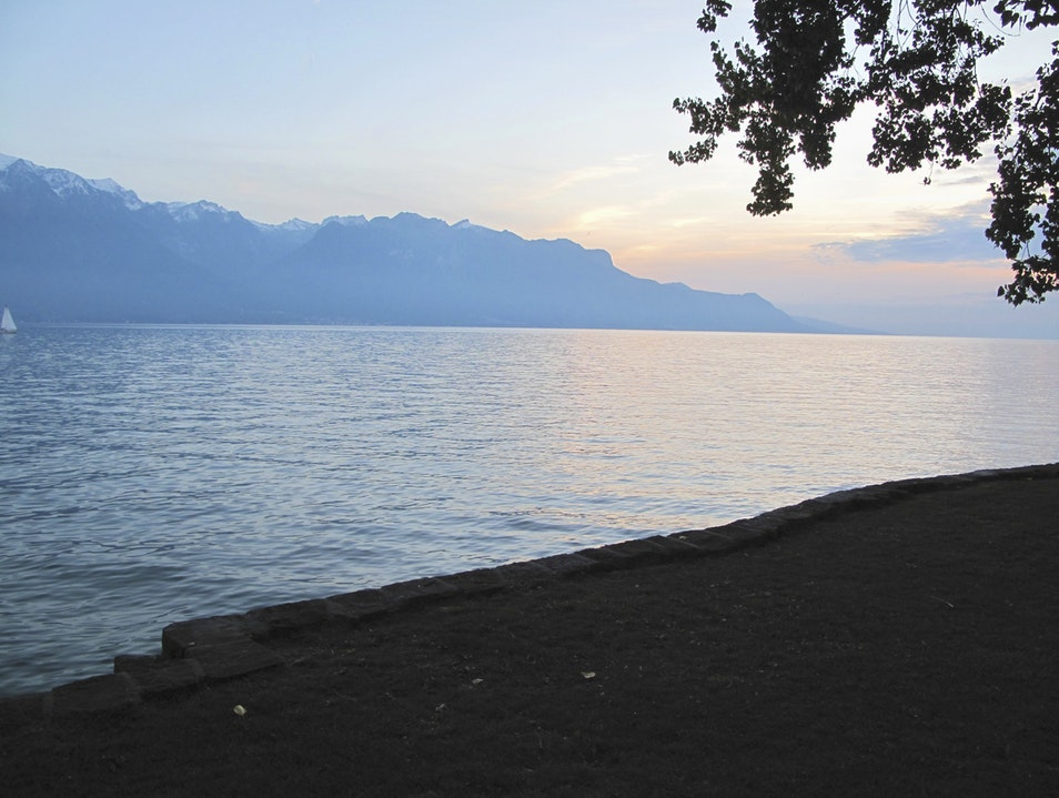 Sunset picnic on the shores of Lake Geneva Vevey  Switzerland