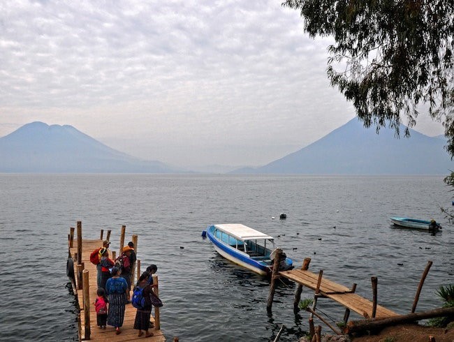 "Waiting for the ""bus"" on Lake Atitlán"